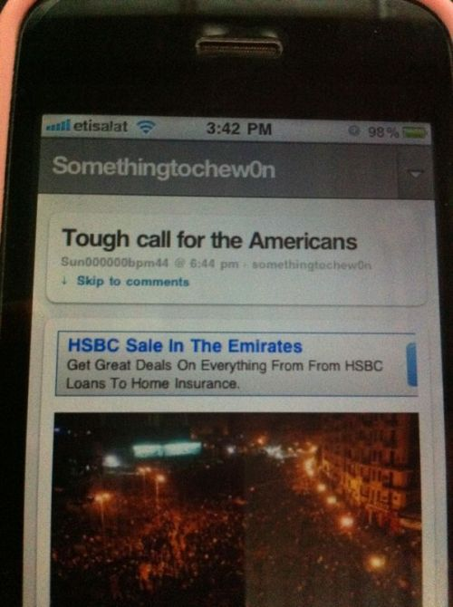 HSBC ad above my blog on phone